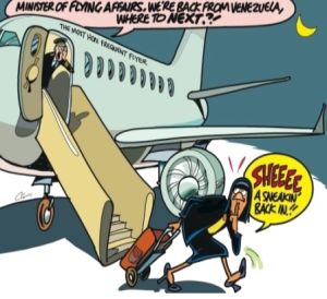 Clovis cartoon in Jamaica Observer lampoons the PM's frequent travel