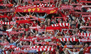 Liverpool fans, in full voice, and colours
