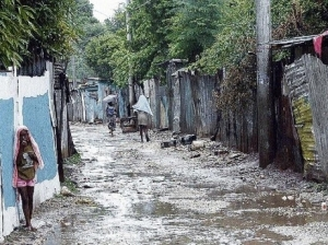 Classic view of urban poverty in Jamaica