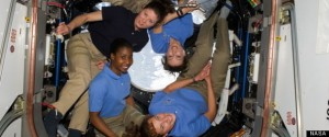 Women in space, serving together on the International Space Station on April 14, 2010