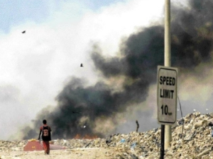 Riverton dump, St. Andrew. The speed limit is really zero MPH, as no movement is happening. (Picture courtesy of The Jamaica Gleaner.)