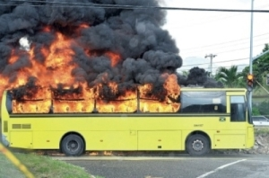 JUTC bus on fire