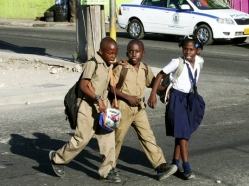 School children crossing roads is a daily sport in Jamaica