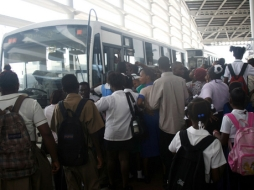 Crowded bus transports in Kingston