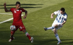 Take that! Messi's left foot can talk