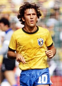 Zico, sporting the famous number 10 of Brazil