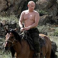 Putin, half naked on his horse