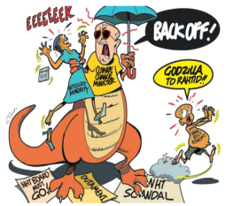 Pickersgill, as evil monster (courtesy of Clovis and The Jamaica Observer). But, is that really the right portrayal?