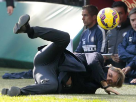Mancini doing his version of a popular breakdance move