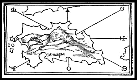 Map of Jamaica - Benedetto Bordone 1528