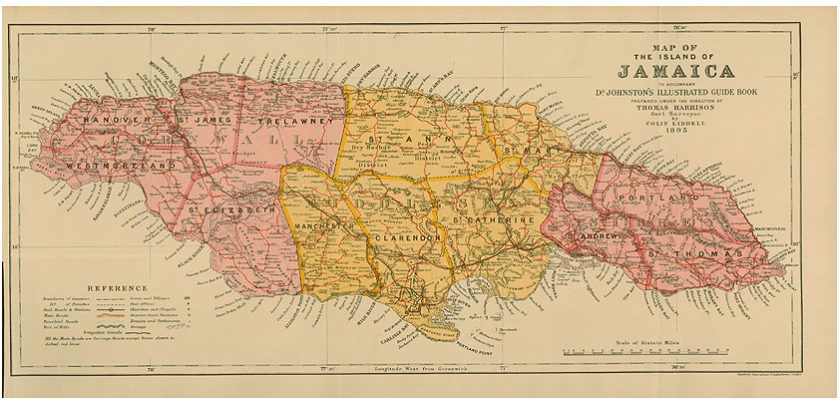 Map of Jamaica -  Colin Liddell 1895