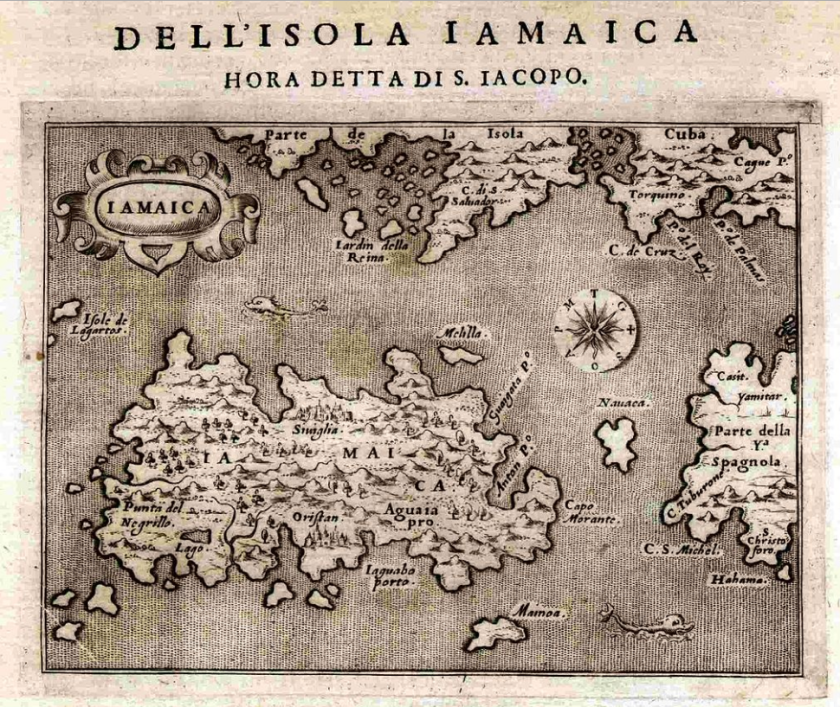Map of Jamaica - Porcacchi 1572