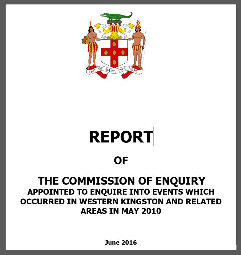 Report of West Kingston Commission of Enquiry Made Public; Now Online