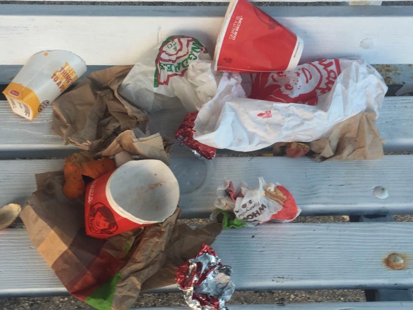 Trash on a bench in Nassau